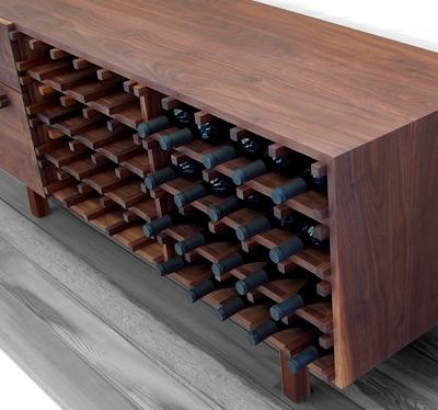 wood wine credenza