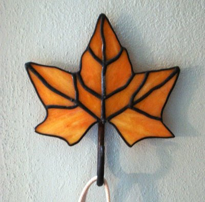stained glass maple leaf hook