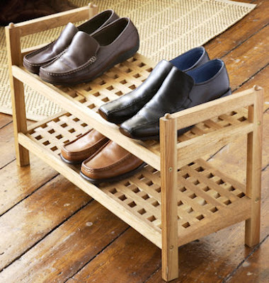 walnut shoe rack