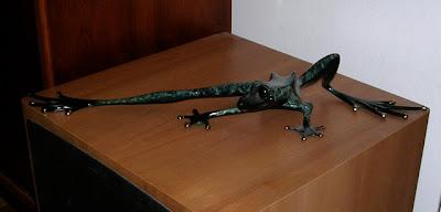 frog sculpture, bronze