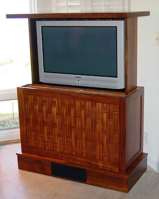 beautiful custom TV lift cabinet
