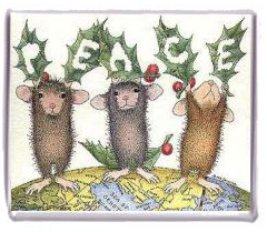 Christmas peace magnet, with mice