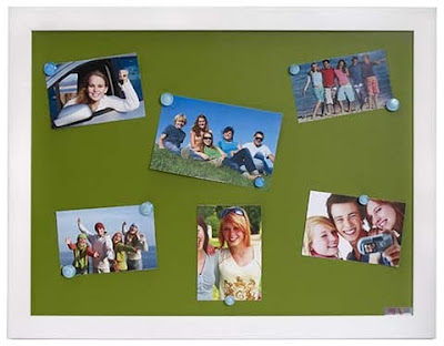 green leather magnetic board, framed