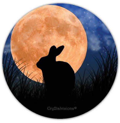 magnet with rabbit and harvest moon