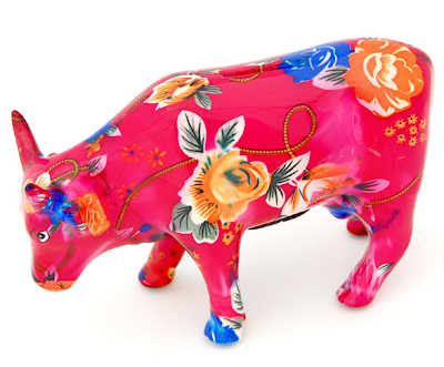 cow bank - pink, floral