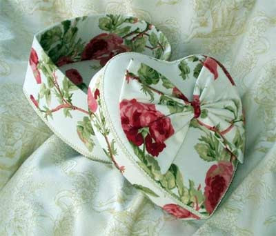heart shaped fabric-covered box