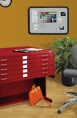 red Safco flat file