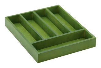 green silverware tray