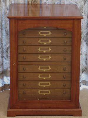 wood geological specimen cabinet