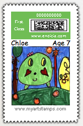 postage stamp from kid's art