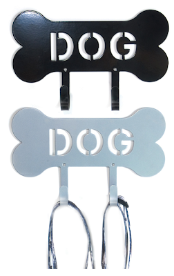 bone leash rack, metal, with word DOG