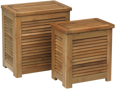 teak laundry boxes