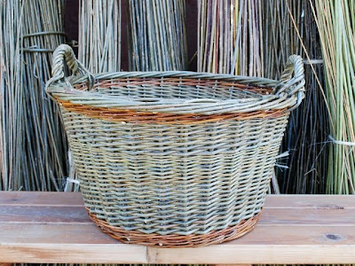 blue laundry basket, round, willow
