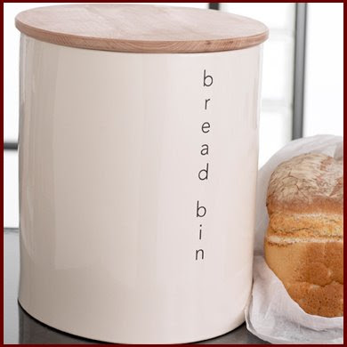 porcelain bread bin with wood lid