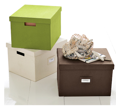 canvas file boxes in green, beige, brown
