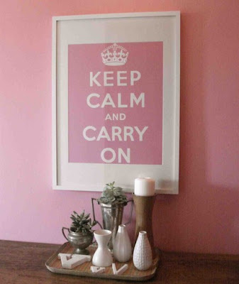 Keep Calm and Carry On - pink poster