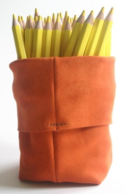 suede pen pot
