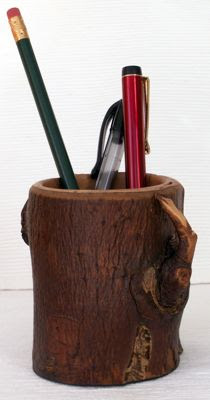 hand-crafted wood pencil or pen holder