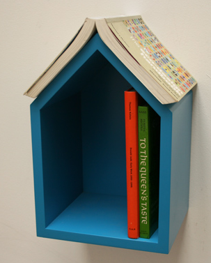small shelf for books, blue