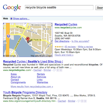 Google search for recycle bicycle Seattle