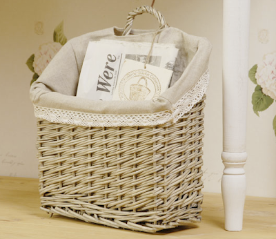 rattan magazine basket, lined