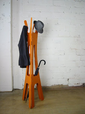 coat rack, orange