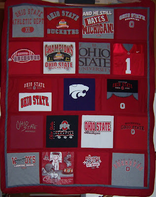 Ohio State themed t-shirt quilt