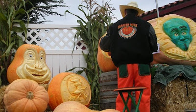 Farmer Mike carves pumpkins at 2010 Art and Pumpkin Festival, Half Moon Bay