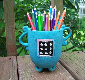 turquoise pencil cup - pottery