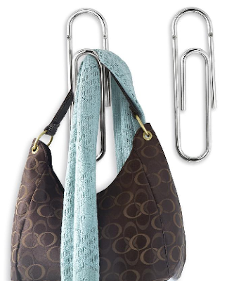 giant paper clip hook with purse and scarf