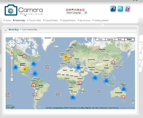 carte du monde des appareils photos perdus