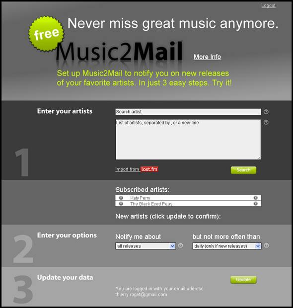 music to mail (music2mail)