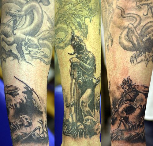 skull tattoos arm. lower arm tattoo skull arm