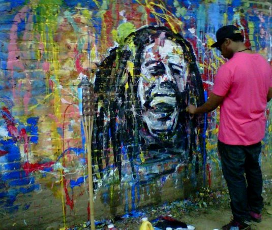 Made aware daren chambers underground artist for Bob marley mural