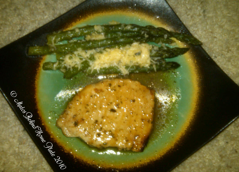 ... Plate: Garlic Pork Chops and Garlic Roasted Asparagus with Parmesan