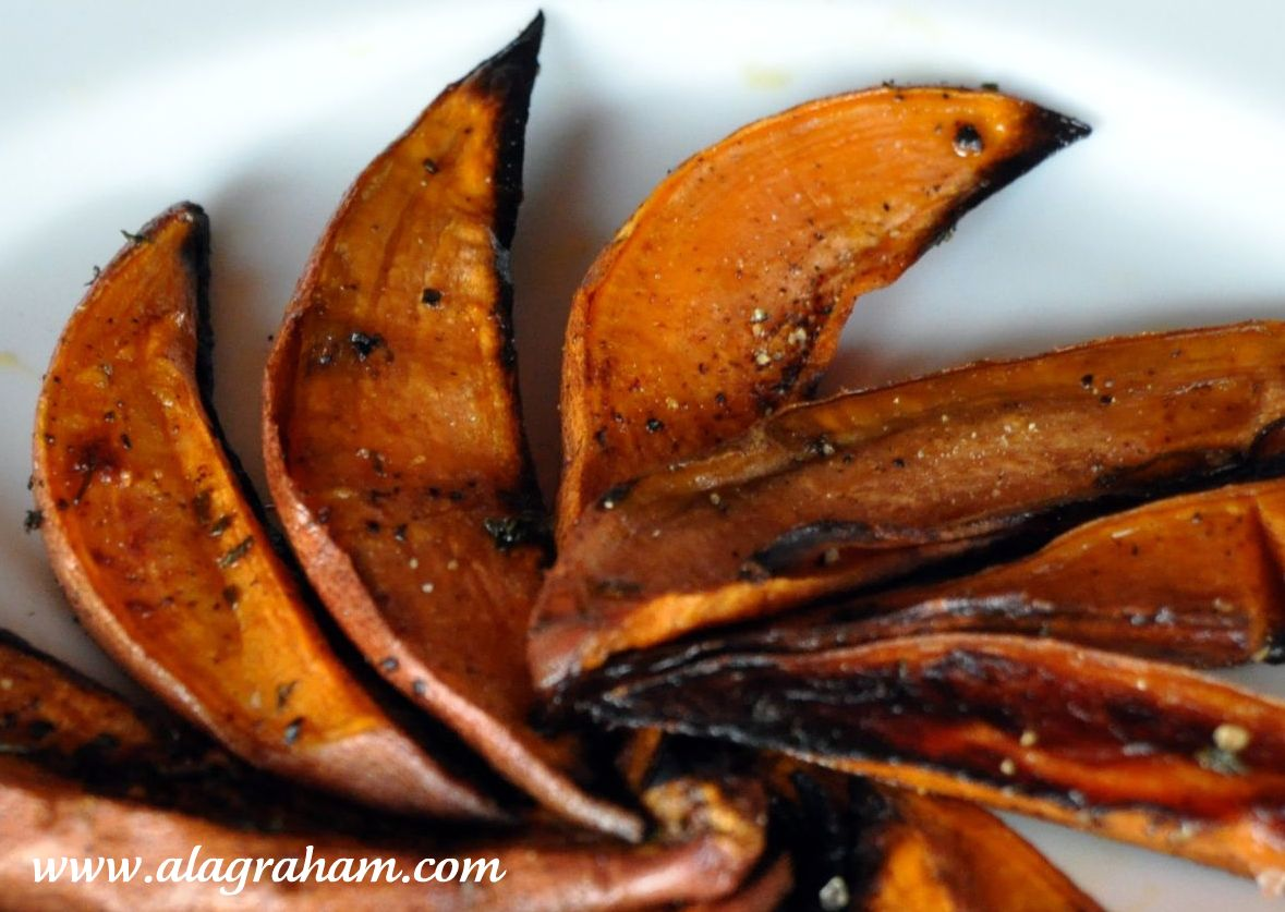 LA GRAHAM: ROASTED SWEET POTATO WEDGES- CLEAN EATING