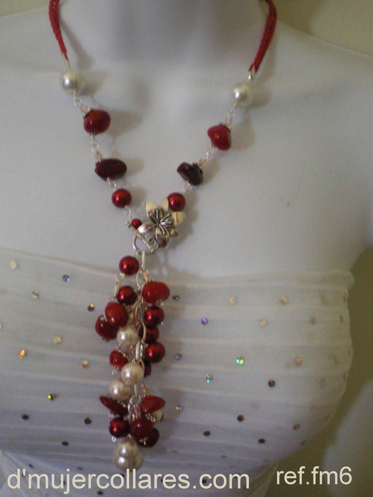 collar perlas rojas y cristales