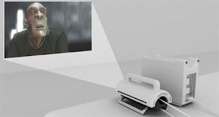 ordenador portatil con proyector de cine