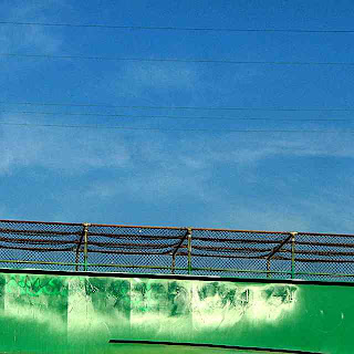 Blue Sky & Green Pedestrian Overpass (c) David Ocker