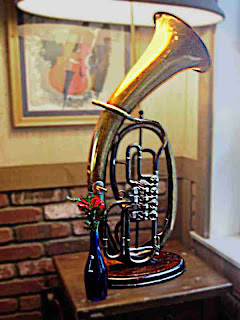 a Wagner Tuba made into a lamp (c) David Ocker