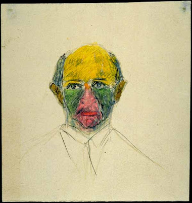 Arnold Schoenberg, self portrait with funny colors