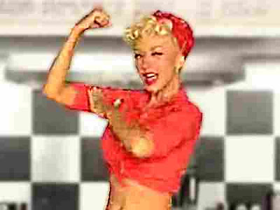 Christina Aguilera - still from Candyman video, Rosie the Riveter is STRONG