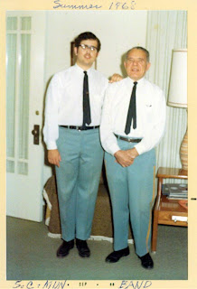 David and Albert Ocker in 1968 wearing Sioux City Municipal Band evening uniforms