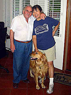Bill Kraft Backyard - two composers, Bill and Joan with Ginji