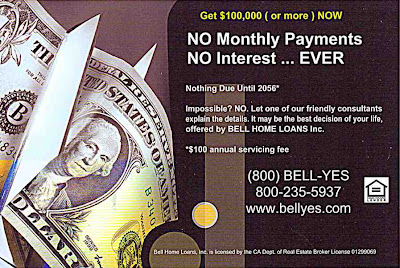 mail advertising from Bell Home Loans - no payment for 50 years