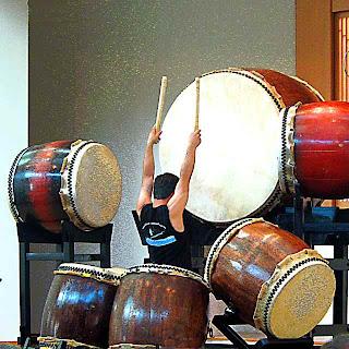Koji Nakamura performs solo on a taiko drumset (c) David Ocker