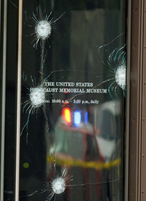 Front door of Washington Holocaust museum with bullet holes from June 10 2009 attack by a white supremacist