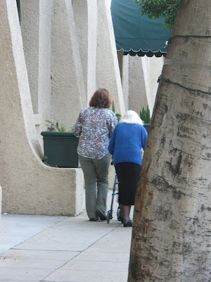 Leslie Harris helping Rose Harris on the sidewalk, January 2009
