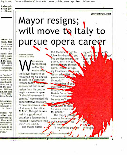 Mayor Resigns; Will Move to Italy to pursue opera career