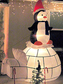Inflatable Christmas Penguin on Igloo